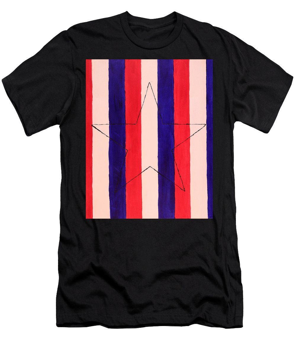 Star Men's T-Shirt (Athletic Fit) featuring the painting Star And Stripes by David Stasiak