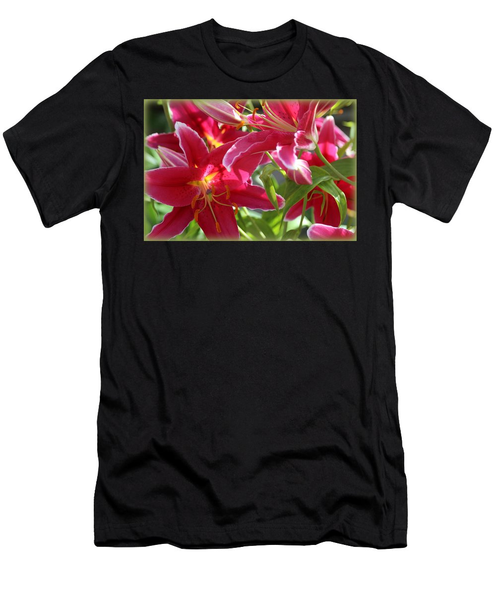 Lilies Men's T-Shirt (Athletic Fit) featuring the photograph Star Gazer Lilies by Dora Sofia Caputo Photographic Design and Fine Art