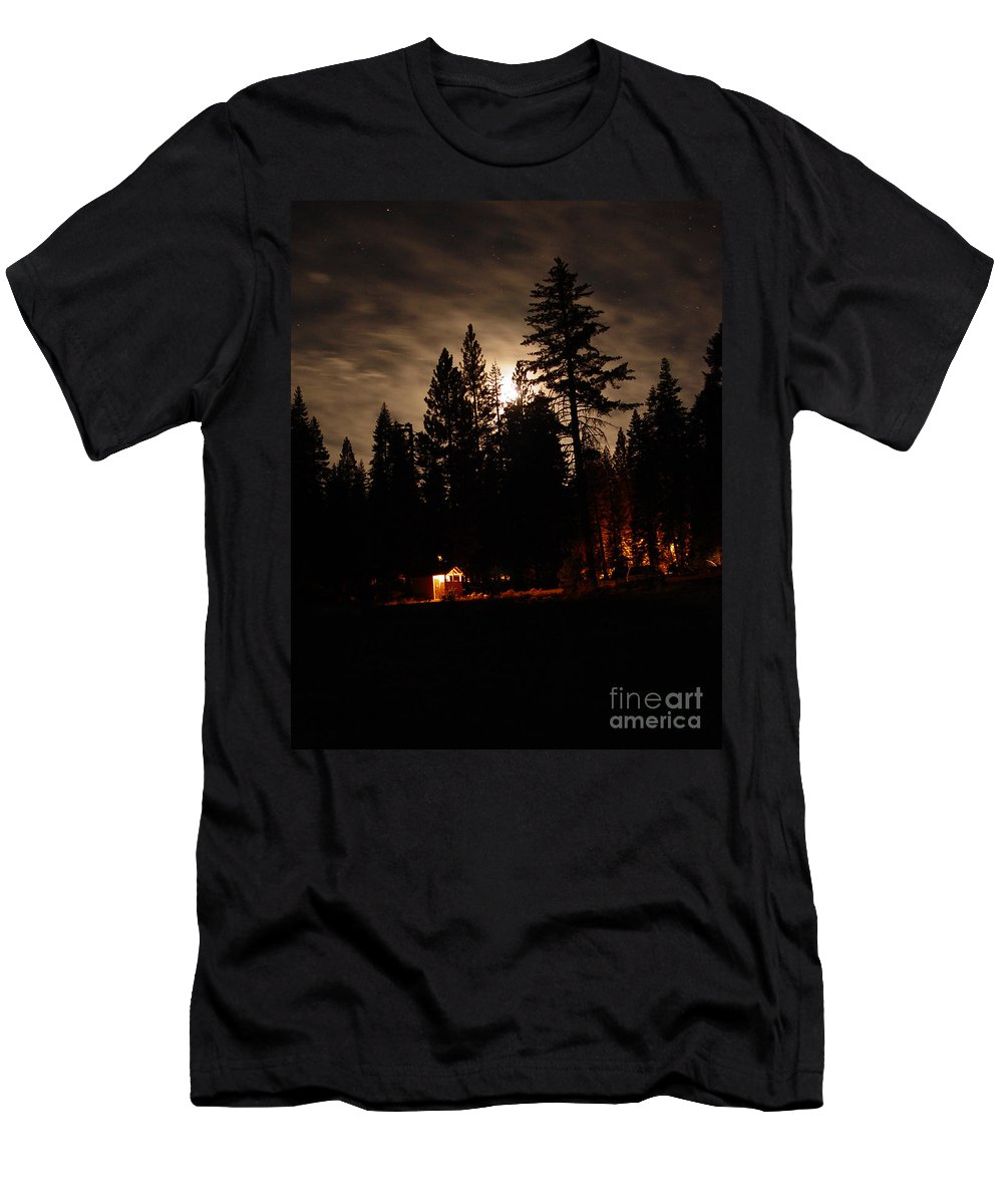 Moonlight Men's T-Shirt (Athletic Fit) featuring the photograph Star Lit Camp by Peter Piatt
