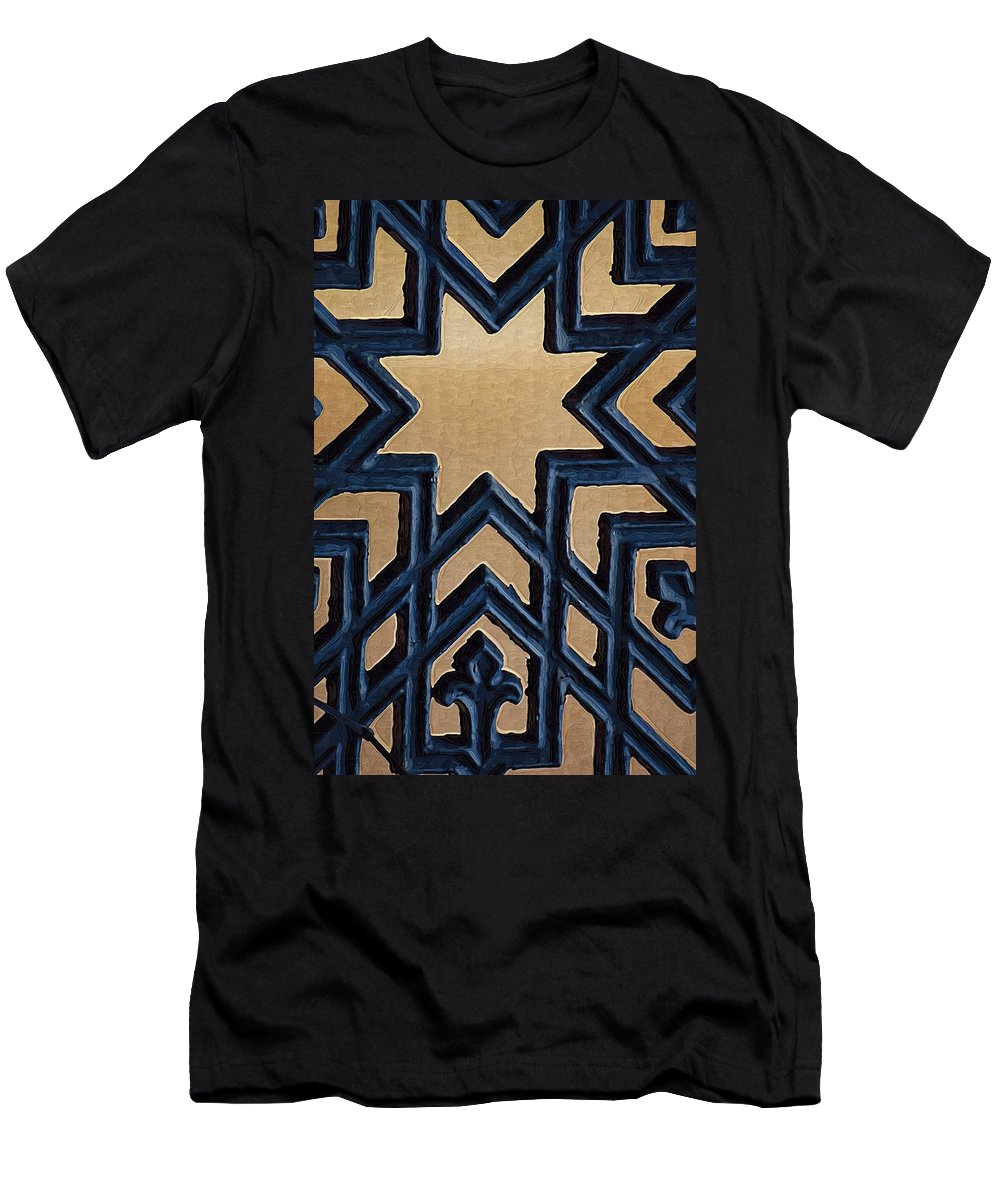 Star Men's T-Shirt (Athletic Fit) featuring the photograph Star On Iron Gate by Donna Bentley