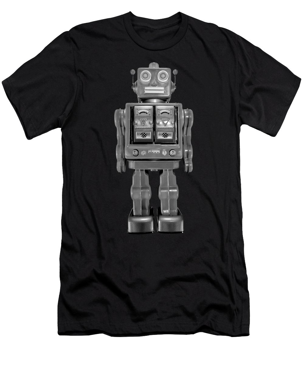 Art Men's T-Shirt (Athletic Fit) featuring the photograph Star Strider Robot Red Bw by YoPedro