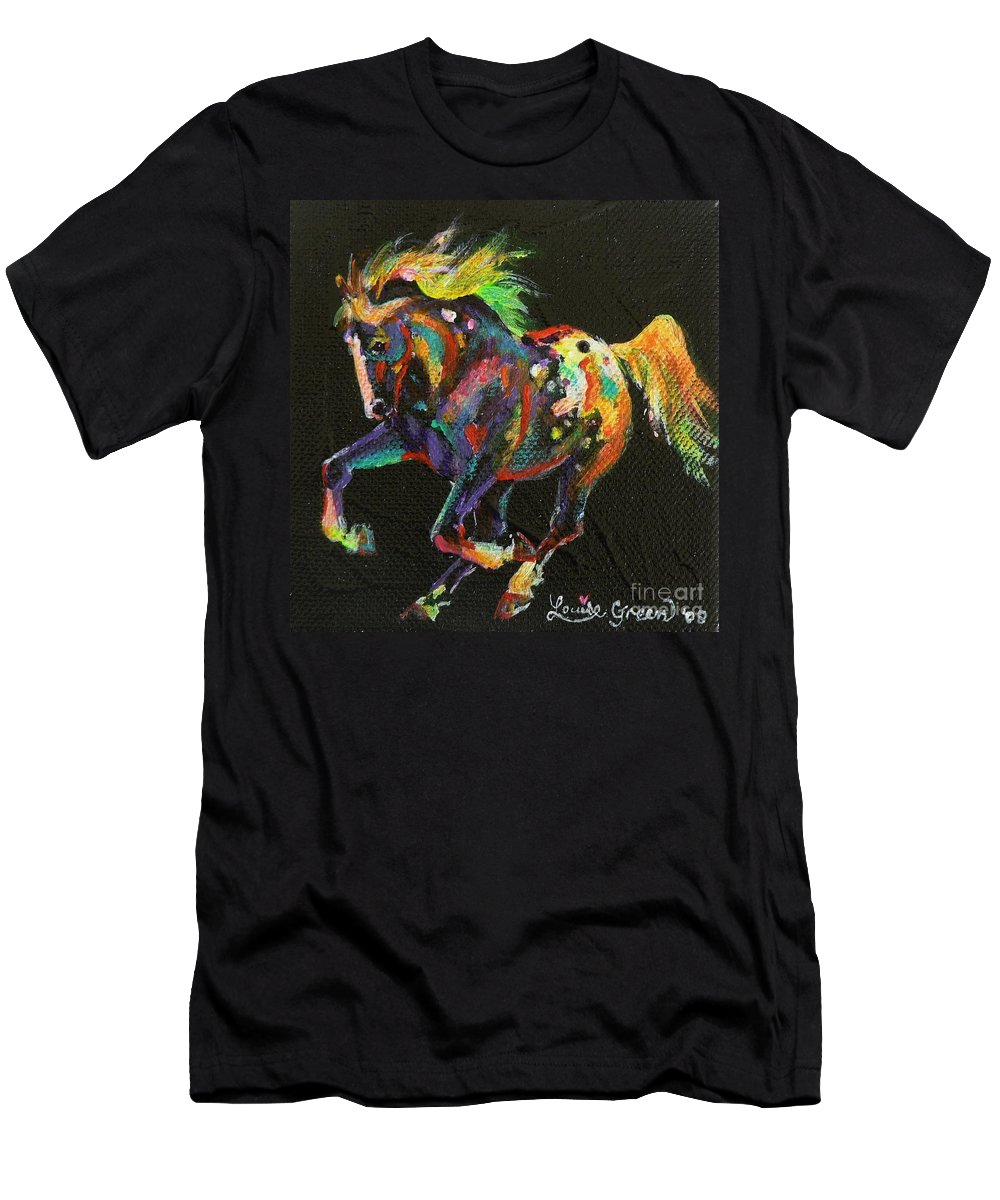 Starburst Pony Men's T-Shirt (Athletic Fit) featuring the painting Starburst Pony by Louise Green