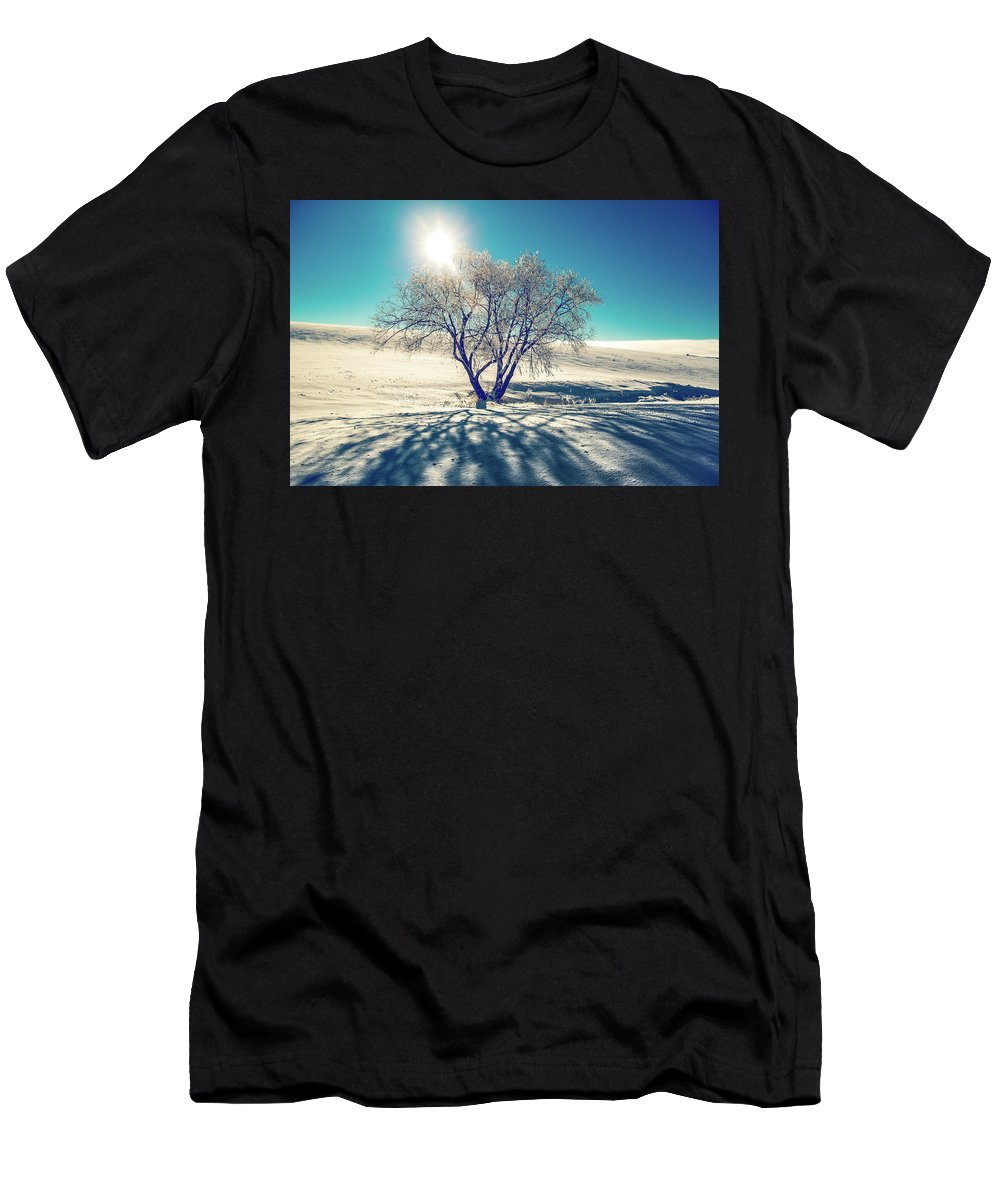 Tree Men's T-Shirt (Athletic Fit) featuring the photograph Stark Shadows by Marcia Darby
