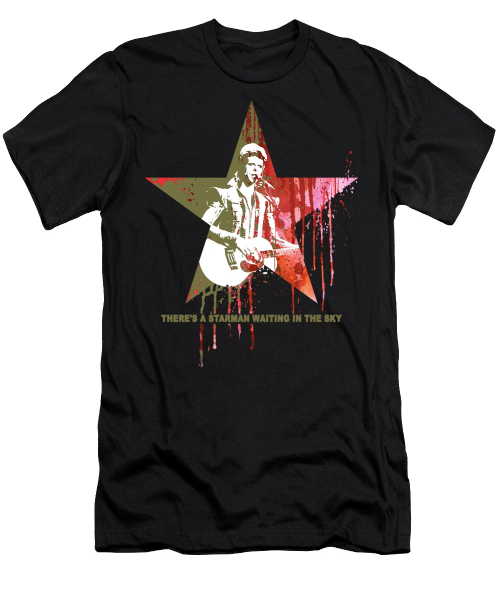 Jimi Men's T-Shirt (Athletic Fit) featuring the mixed media David Bowie - Starman #black by Art Popop