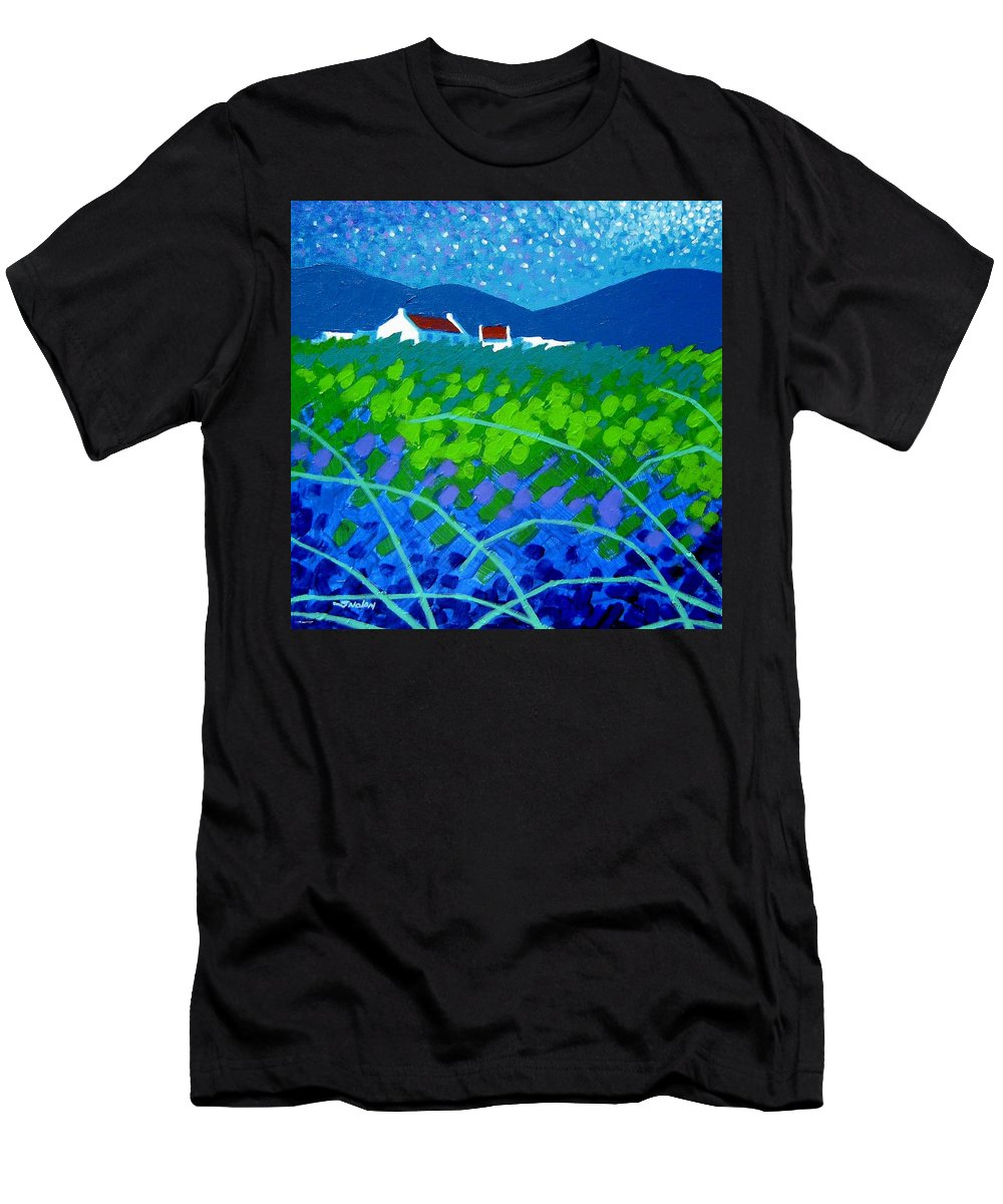 Acrylic Men's T-Shirt (Athletic Fit) featuring the painting Starry Night In Wicklow by John Nolan