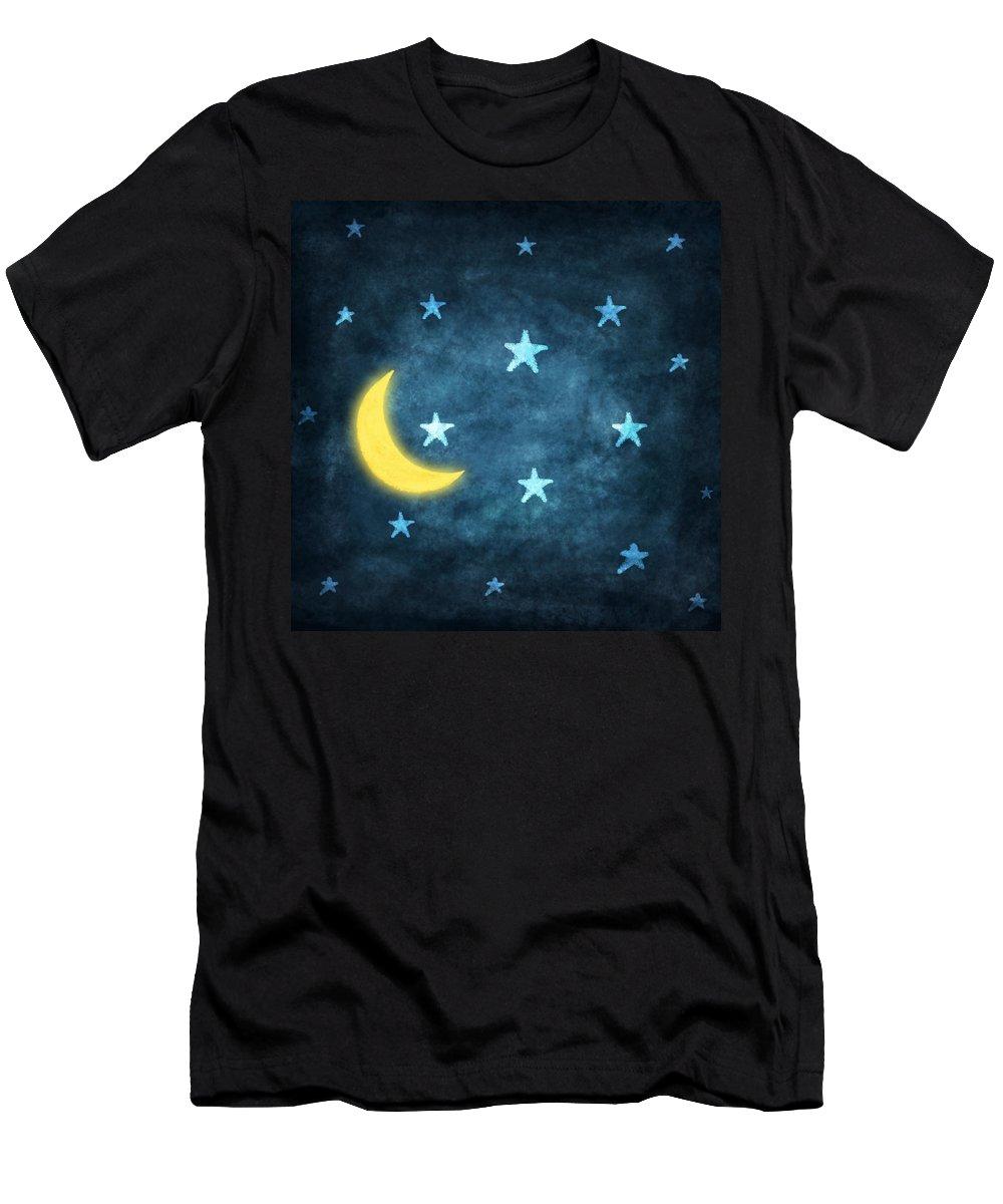 Art T-Shirt featuring the photograph Stars And Moon Drawing With Chalk by Setsiri Silapasuwanchai