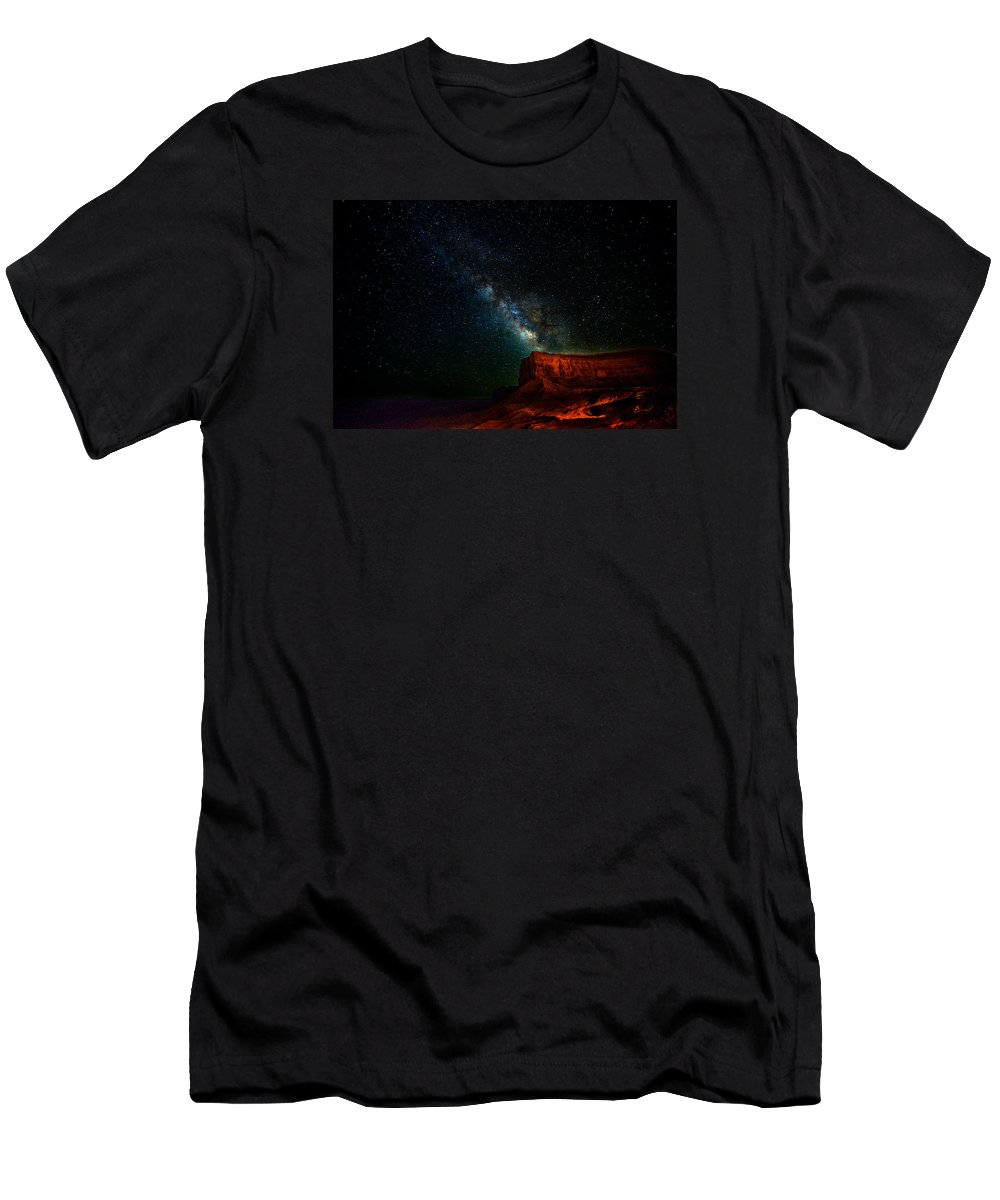 Monument Valley Men's T-Shirt (Athletic Fit) featuring the photograph Stars And The Mountain by Prashant Thumma