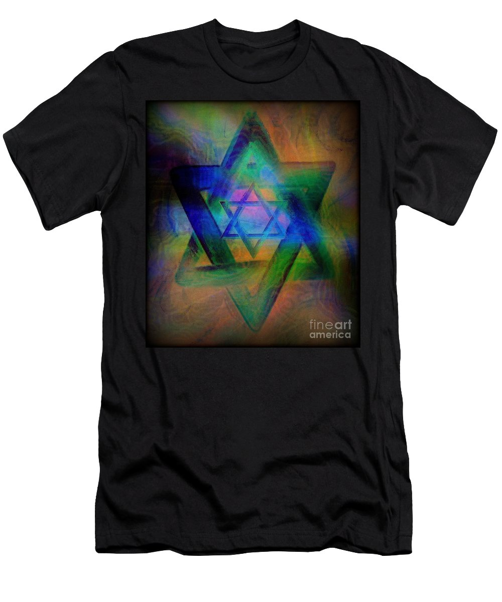 Religious T-Shirt featuring the painting Stars Of David by Wbk
