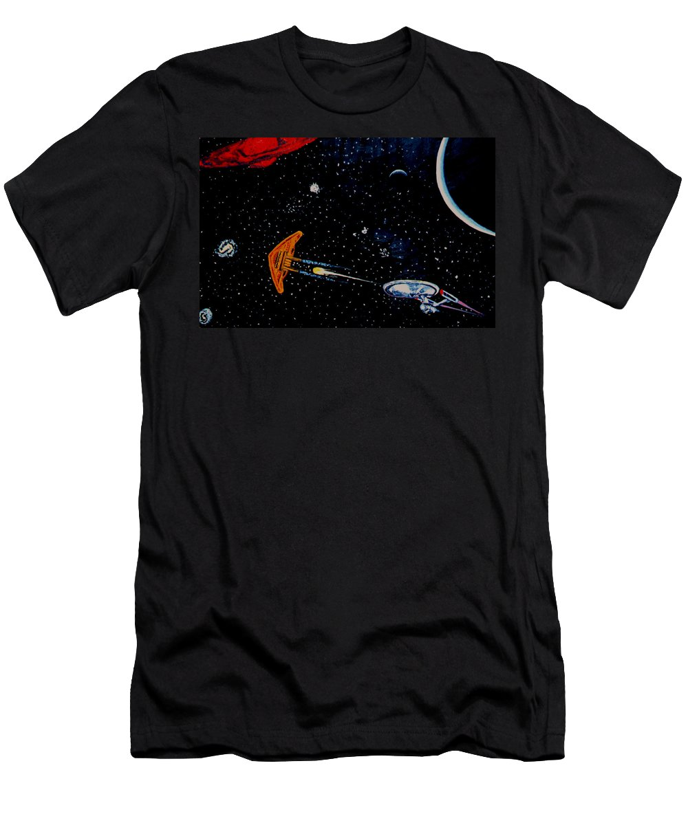 Startrel.scoemce Foxopm.s[ace.[;amets.stars Men's T-Shirt (Athletic Fit) featuring the painting Startrek by Stan Hamilton