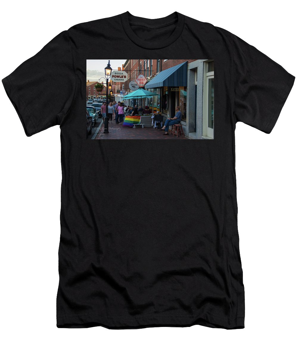 State Street Men's T-Shirt (Athletic Fit) featuring the photograph State Street Blues by Bill Ryan