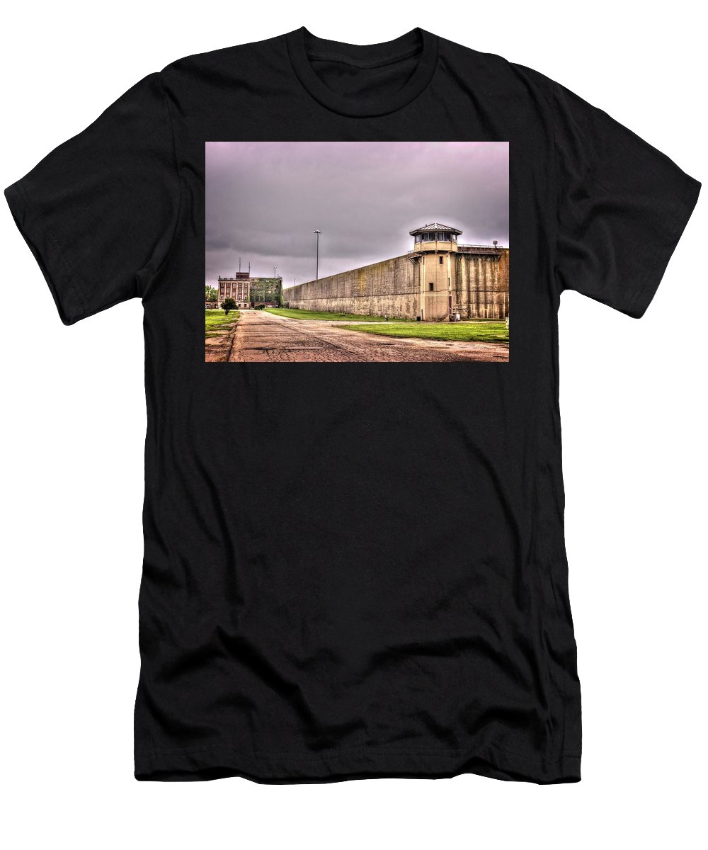 Crest Hill Men's T-Shirt (Athletic Fit) featuring the photograph Stateville Correctional Center by Fred Hahn