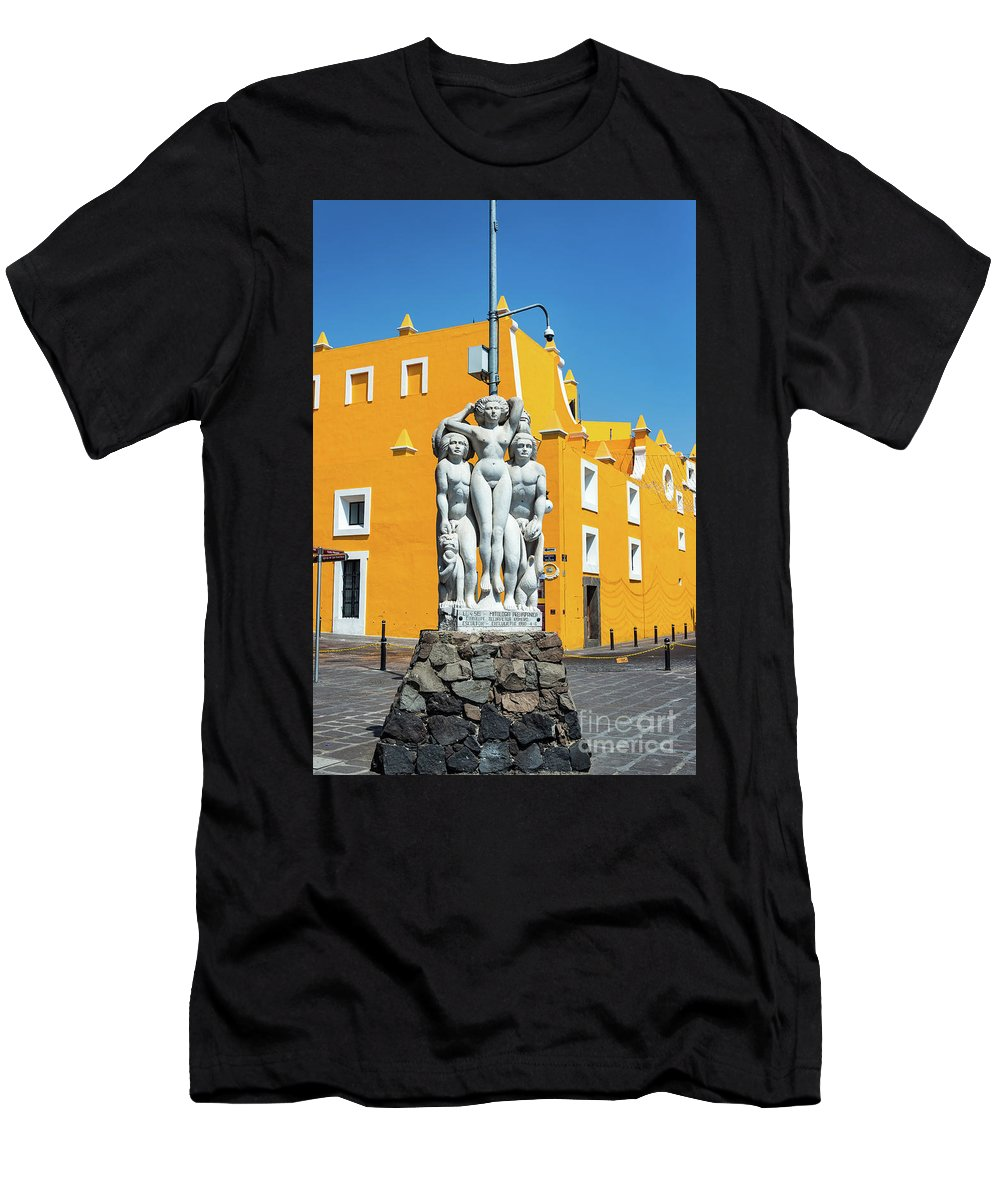 Oaxaca Men's T-Shirt (Athletic Fit) featuring the photograph Statue And Yellow Theater by Jess Kraft