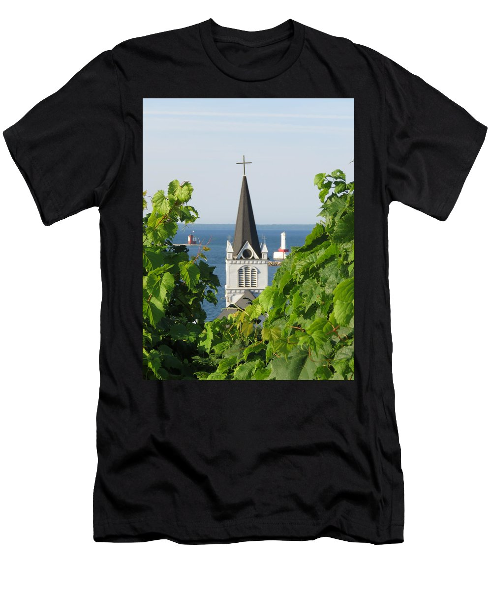 Ste. Anne Men's T-Shirt (Athletic Fit) featuring the photograph Ste. Anne's Steeple by Keith Stokes