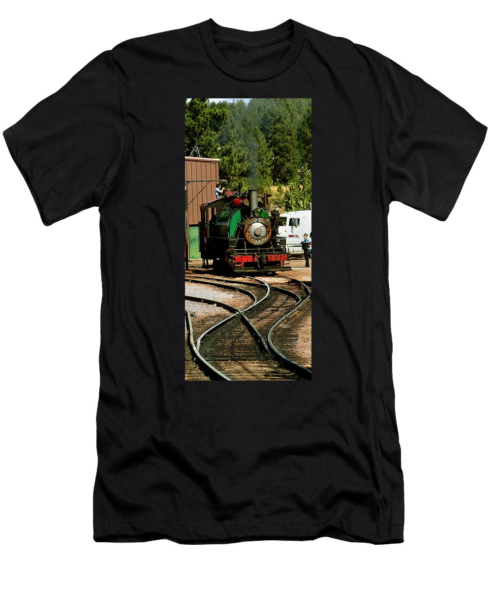 Mount Rushmore Men's T-Shirt (Athletic Fit) featuring the photograph Steam Power by Mike Oistad
