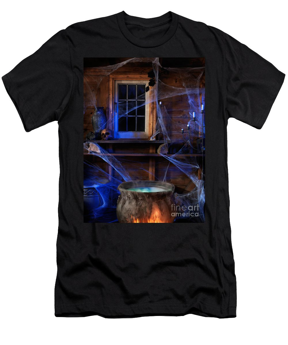 Cauldron Men's T-Shirt (Athletic Fit) featuring the photograph Steaming Cauldron In A Witch Cabin by Oleksiy Maksymenko