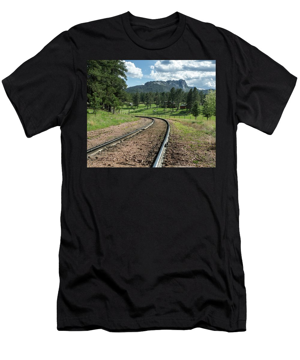 South Men's T-Shirt (Athletic Fit) featuring the photograph Steel Tracks In The Black Hills by Cary Leppert