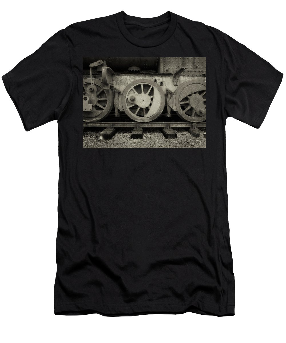 Locomotive Men's T-Shirt (Athletic Fit) featuring the photograph Steel Wheels by Philip Openshaw