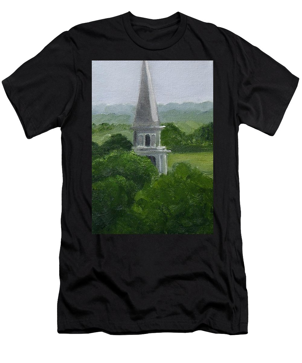 Steeple Men's T-Shirt (Athletic Fit) featuring the painting Steeple by Toni Berry