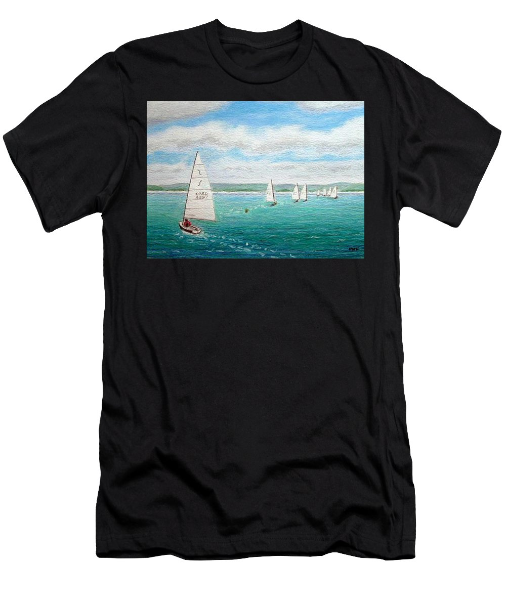 Oil Pastel Marine Lake Sailing Men's T-Shirt (Athletic Fit) featuring the painting 'steer The Course' - West Kirby Marine Lake, Wirral by Peter Farrow