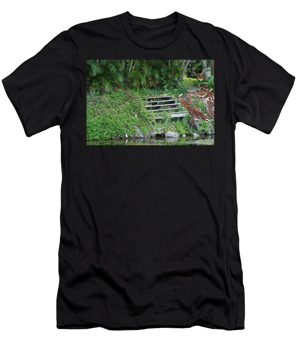 Grass Men's T-Shirt (Athletic Fit) featuring the photograph Steps In The Grass by Rob Hans