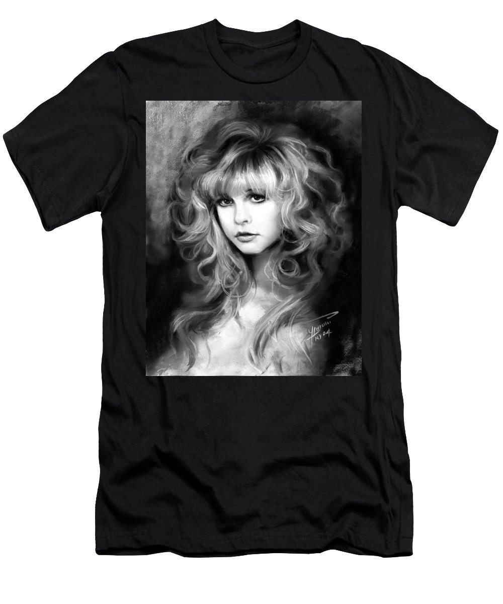 Stevie Nicks Men's T-Shirt (Athletic Fit) featuring the drawing Stevie Nicks by Ylli Haruni