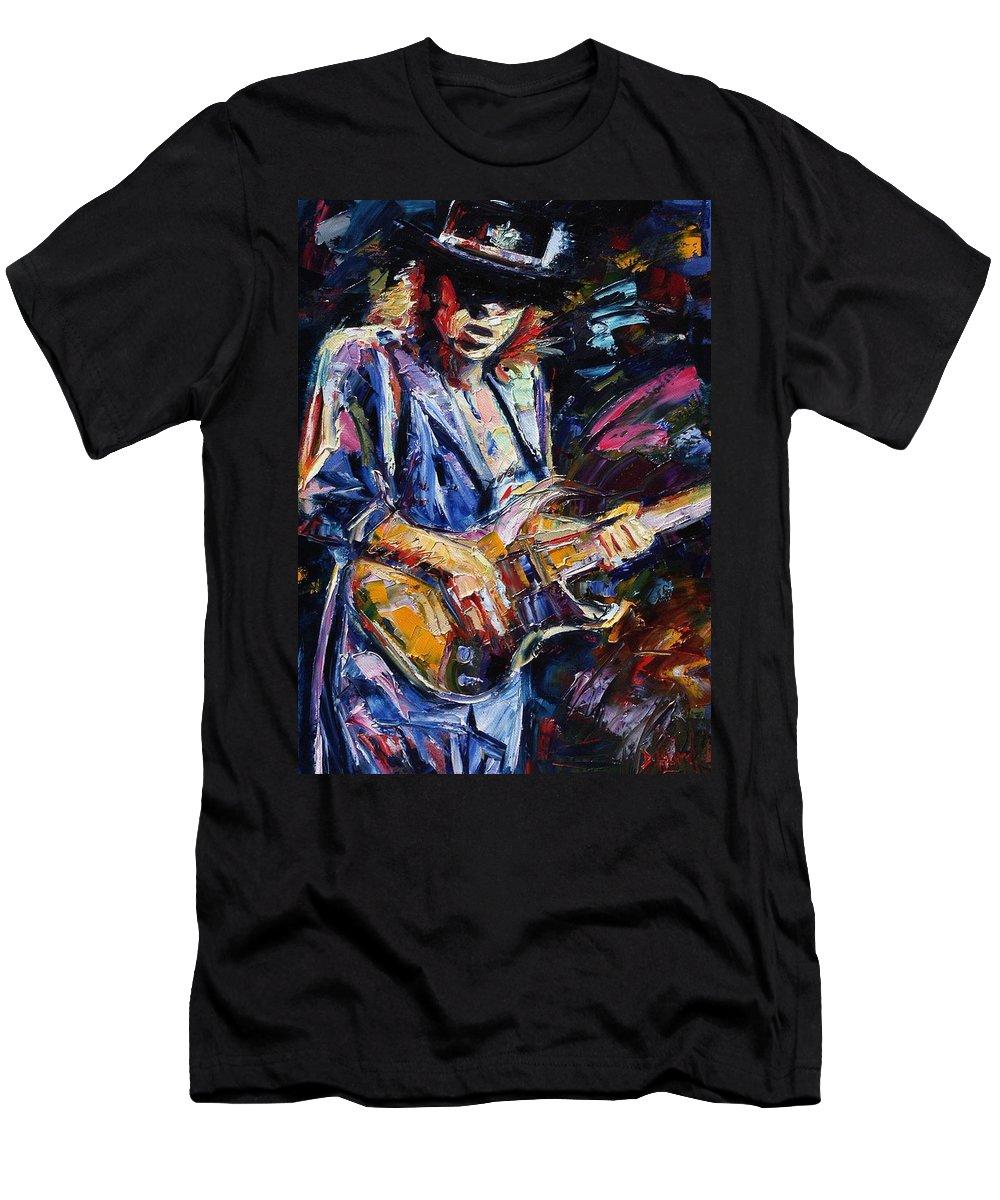 Stevie Ray Vaughan Painting Men's T-Shirt (Athletic Fit) featuring the painting Stevie Ray Vaughan by Debra Hurd