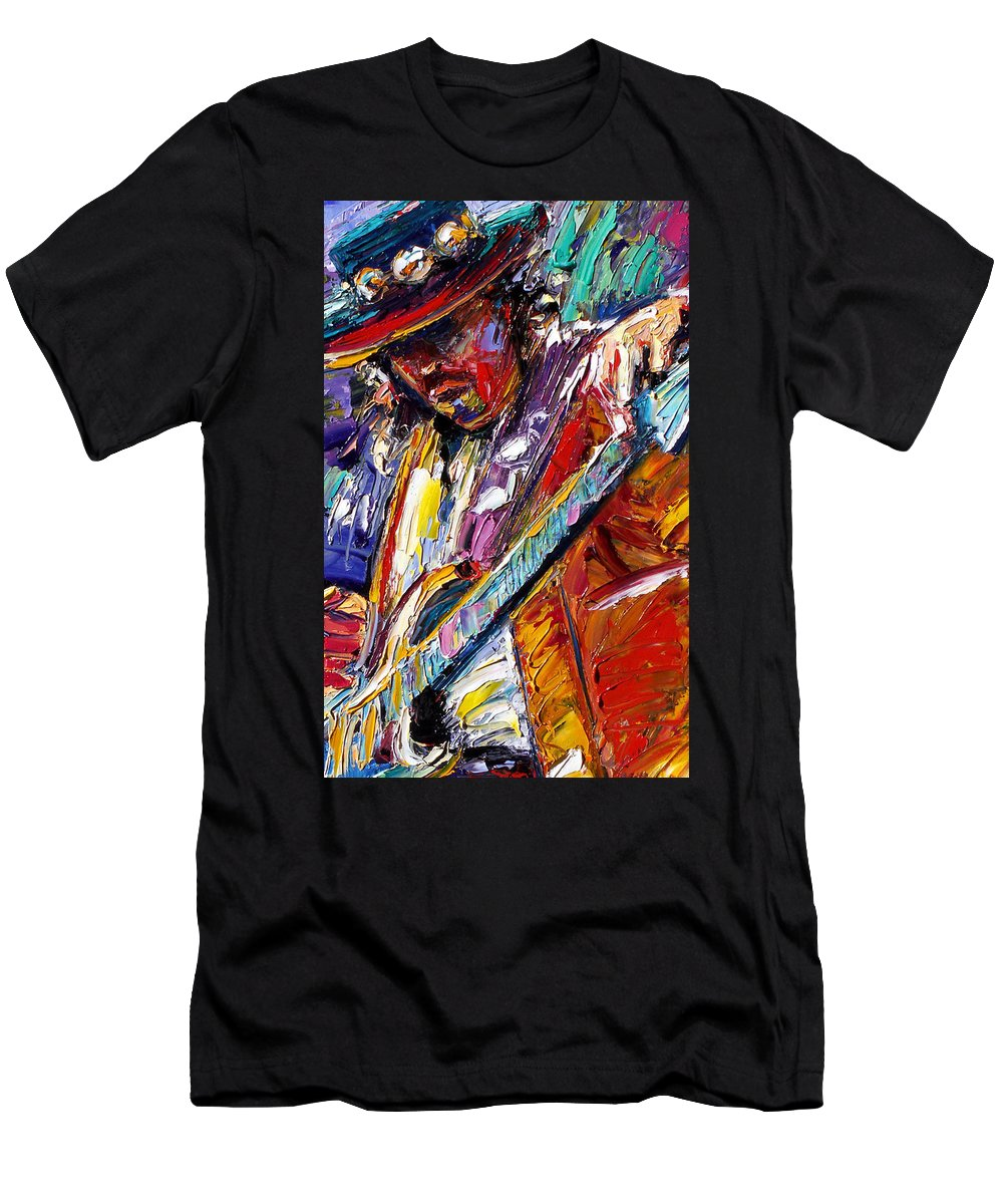 Rock Men's T-Shirt (Athletic Fit) featuring the painting Stevie Ray Vaughan Number One by Debra Hurd