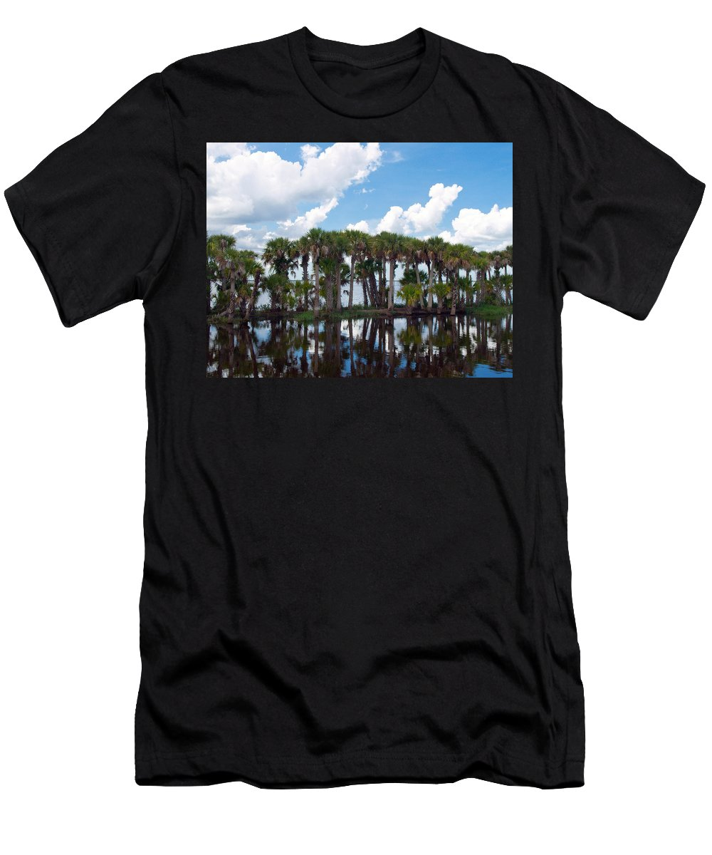 Florida; Water; Canal; Stick; Marsh; Drowned; Trees; Drown; Fellsmere; Sebastian; River; Indian; Clo Men's T-Shirt (Athletic Fit) featuring the photograph Stick Marsh In Fellsmere Florida by Allan Hughes
