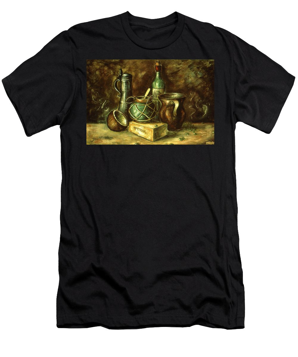 Still+life Men's T-Shirt (Athletic Fit) featuring the painting Still Life 72 - Oil On Wood by Peter Potter