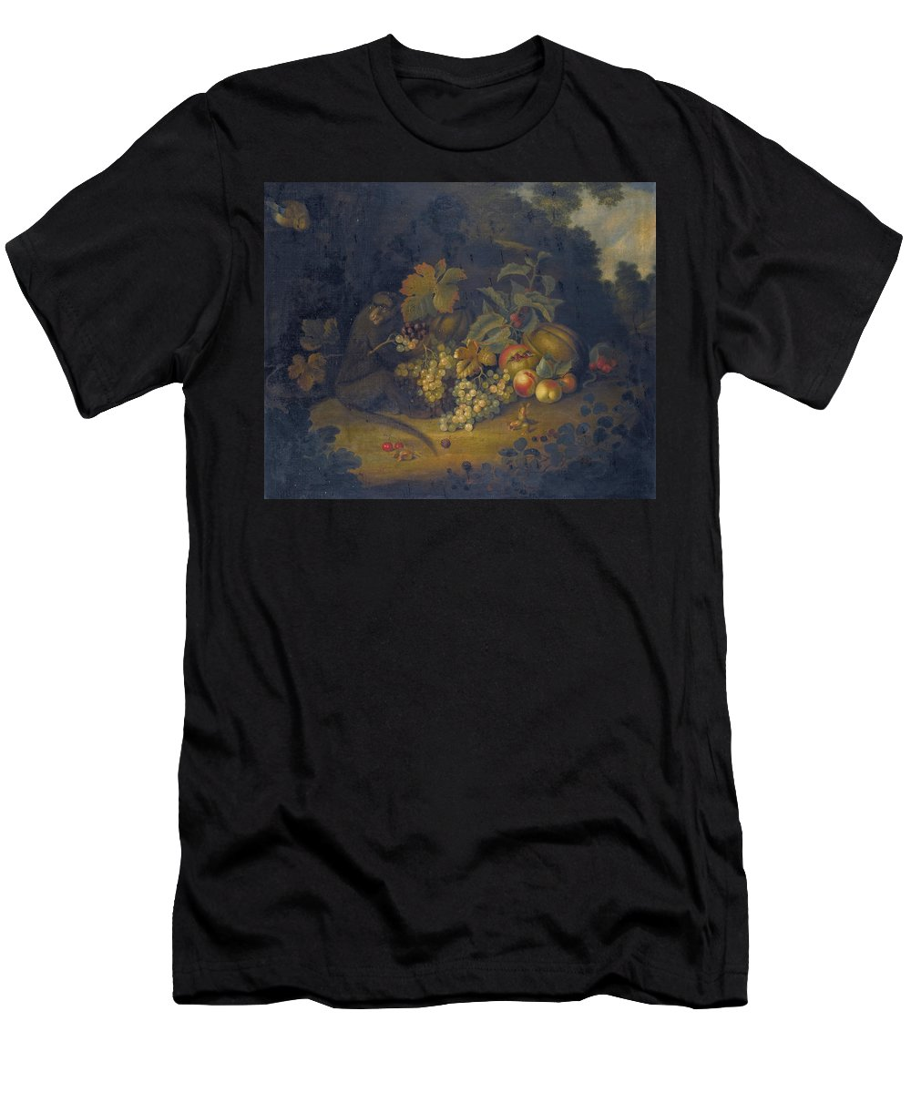 George William Sartorius Men's T-Shirt (Athletic Fit) featuring the painting Still Life Of Fruit With A Monkey by George William Sartorius