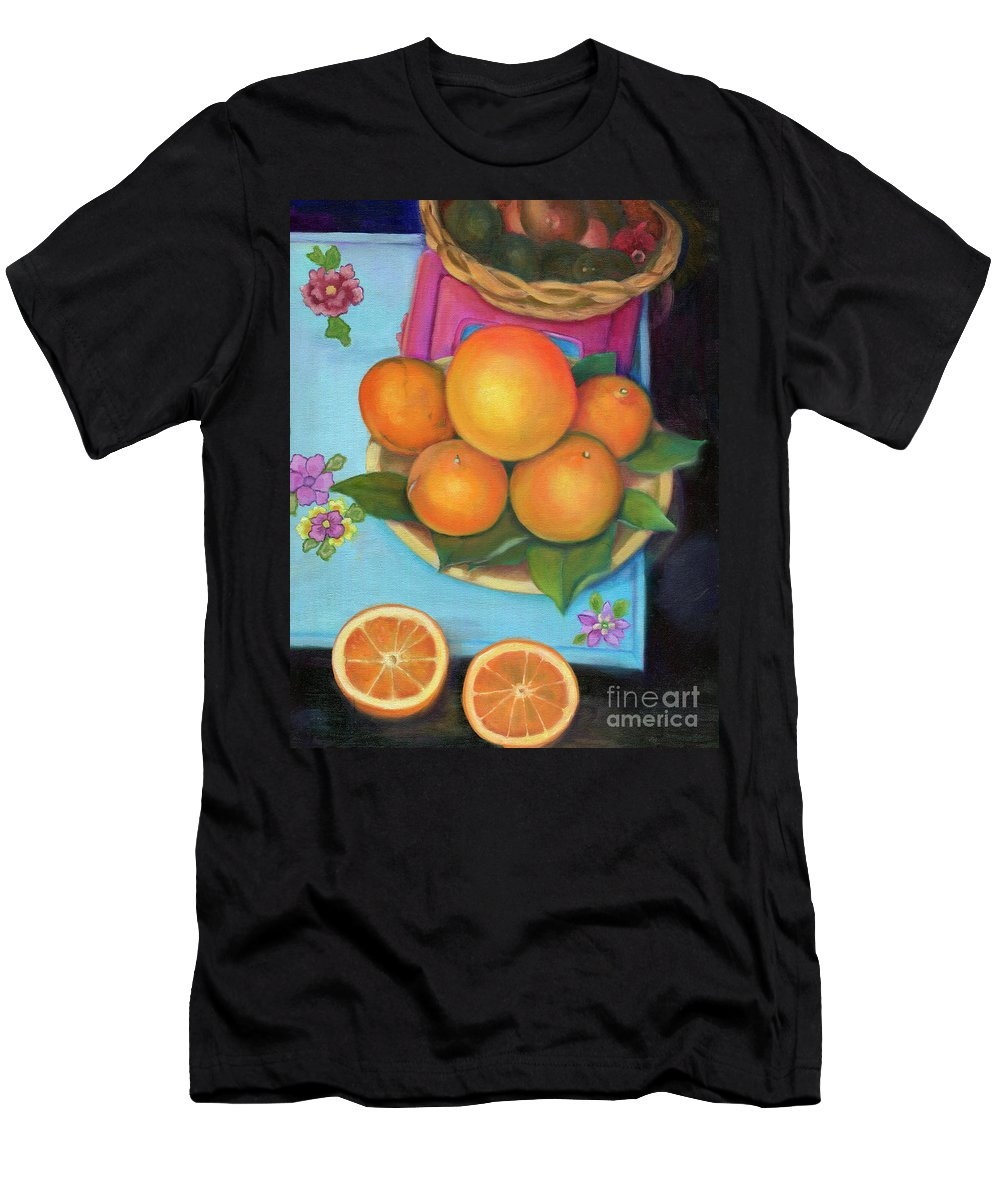 Still Life Men's T-Shirt (Athletic Fit) featuring the painting Still Life Oranges And Grapefruit by Marlene Book