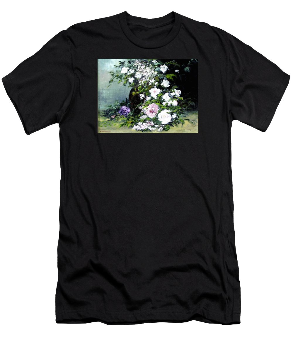 Still Life Men's T-Shirt (Athletic Fit) featuring the painting Still Life W/flowers by Boris Garibyan