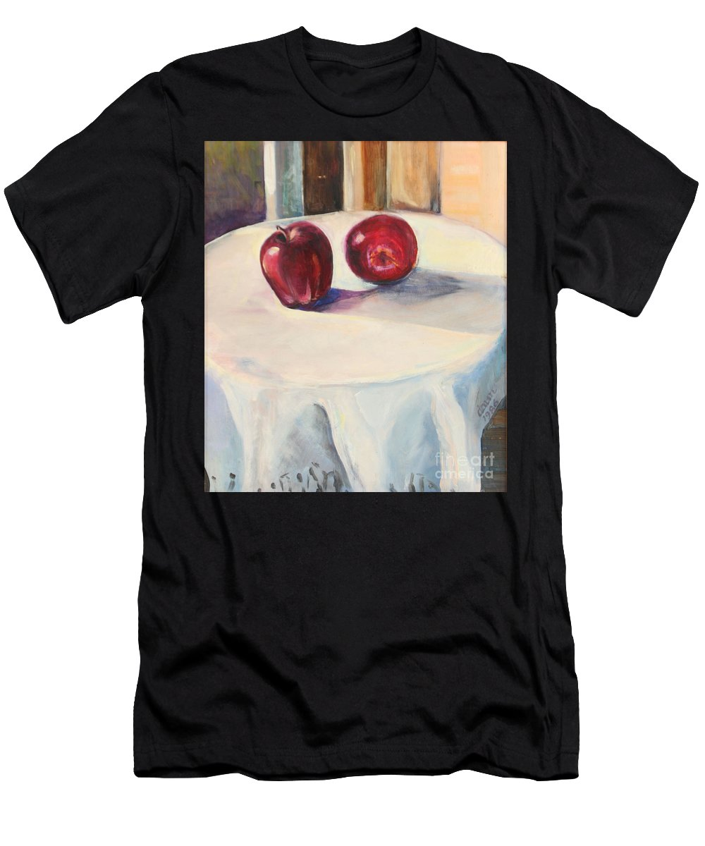 Oil Painting Men's T-Shirt (Athletic Fit) featuring the painting Still Life With Apples by Daun Soden-Greene