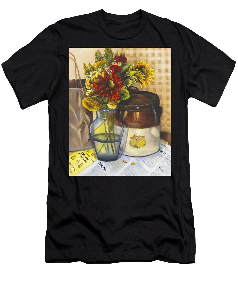Still Life Men's T-Shirt (Athletic Fit) featuring the painting Still Life With Brown Paper Sack by Marlene Book