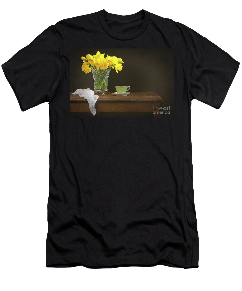 Bunch Men's T-Shirt (Athletic Fit) featuring the photograph Still Life With Daffodils by Amanda Elwell