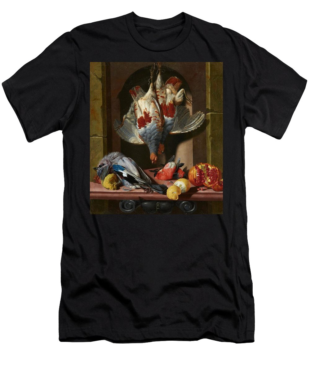 Georg Jacob Johannes Van Os Men's T-Shirt (Athletic Fit) featuring the painting Still Life With Game by MotionAge Designs