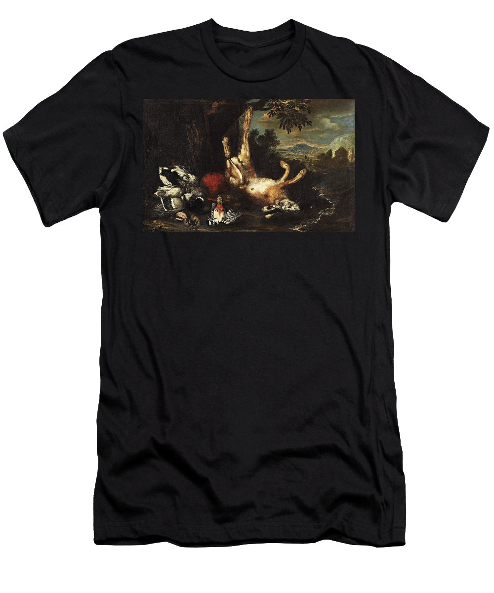 German Master Men's T-Shirt (Athletic Fit) featuring the painting Still Life With Game by MotionAge Designs