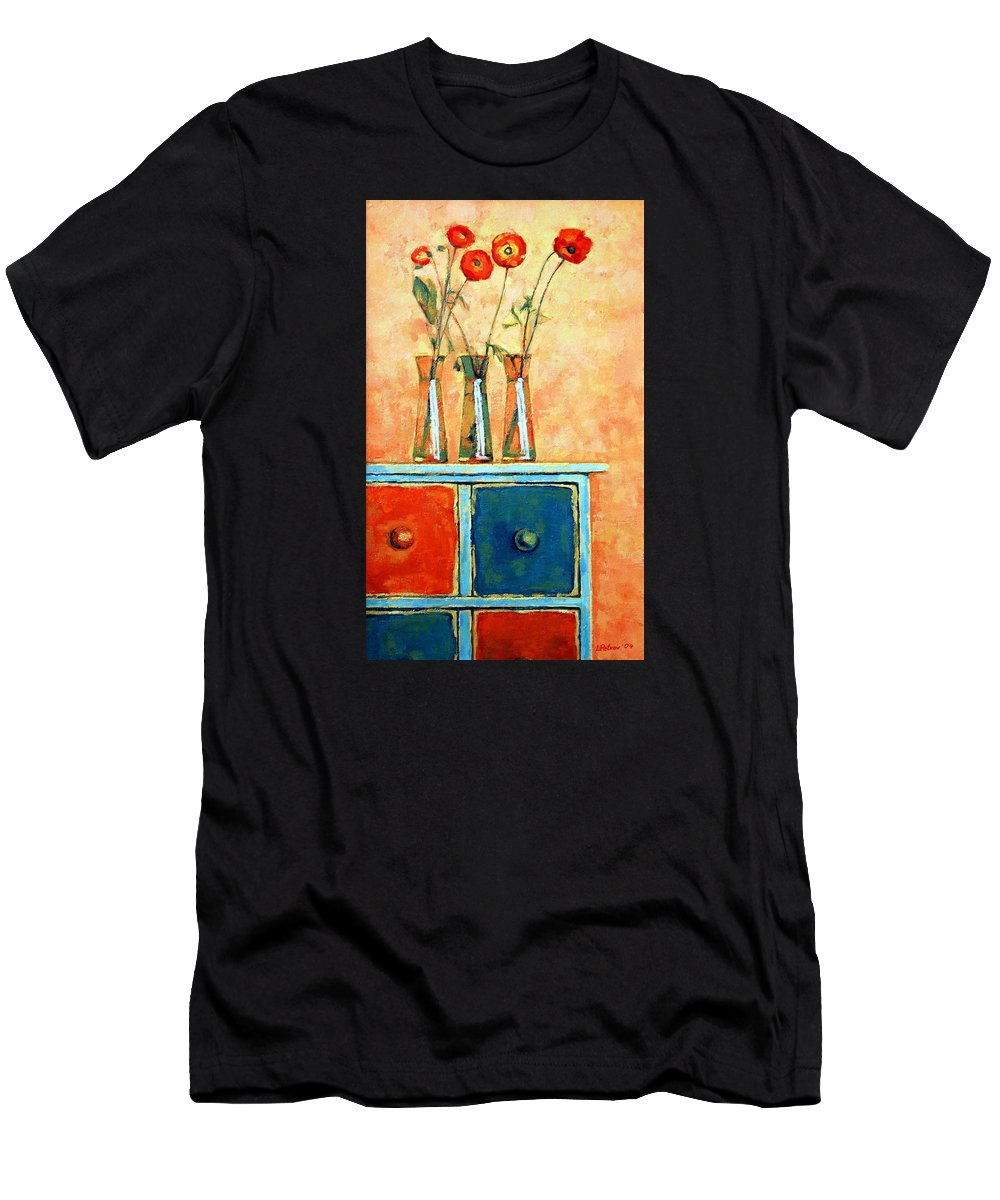 Poppies Men's T-Shirt (Athletic Fit) featuring the painting Still Life With Poppies by Iliyan Bozhanov