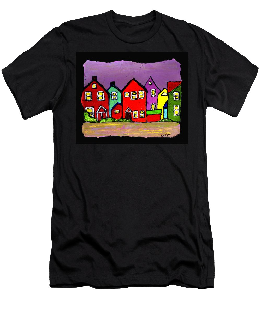 Houses Men's T-Shirt (Athletic Fit) featuring the painting Still Standing by Wayne Potrafka