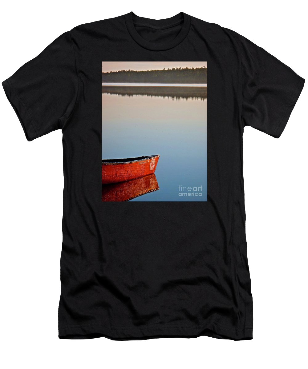 Reflection Men's T-Shirt (Athletic Fit) featuring the photograph Still Water In Maine by Michael Cinnamond