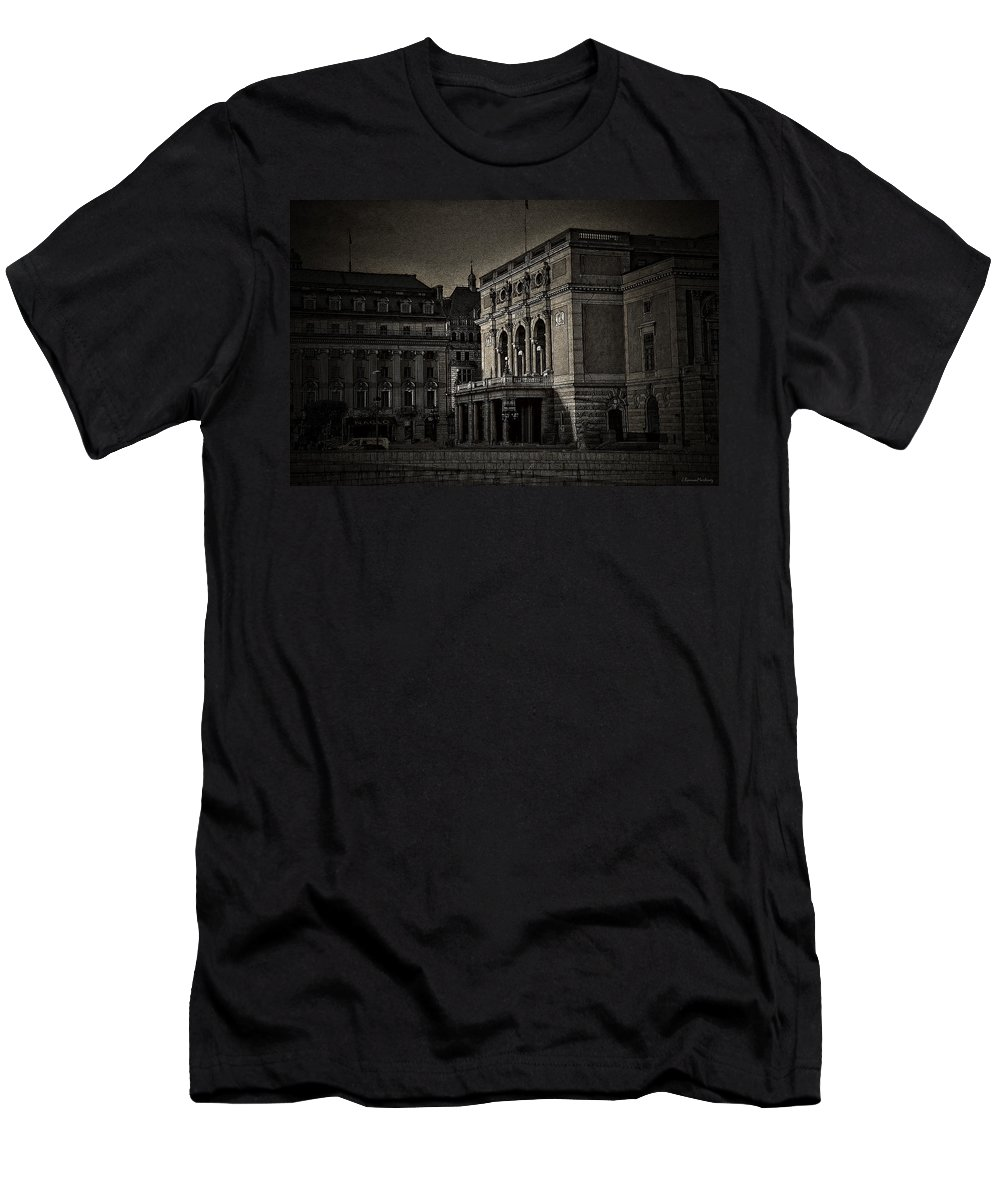 Cities Men's T-Shirt (Athletic Fit) featuring the digital art The Royal Swedish Opera by Ramon Martinez