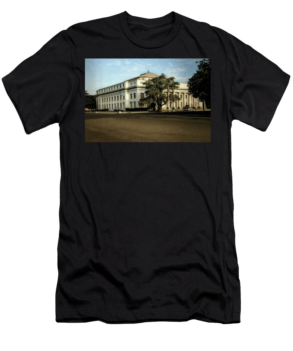 Stockton Civic Auditorium Men's T-Shirt (Athletic Fit) featuring the digital art Stockton Civic Auditorium 2 by Terry Davis