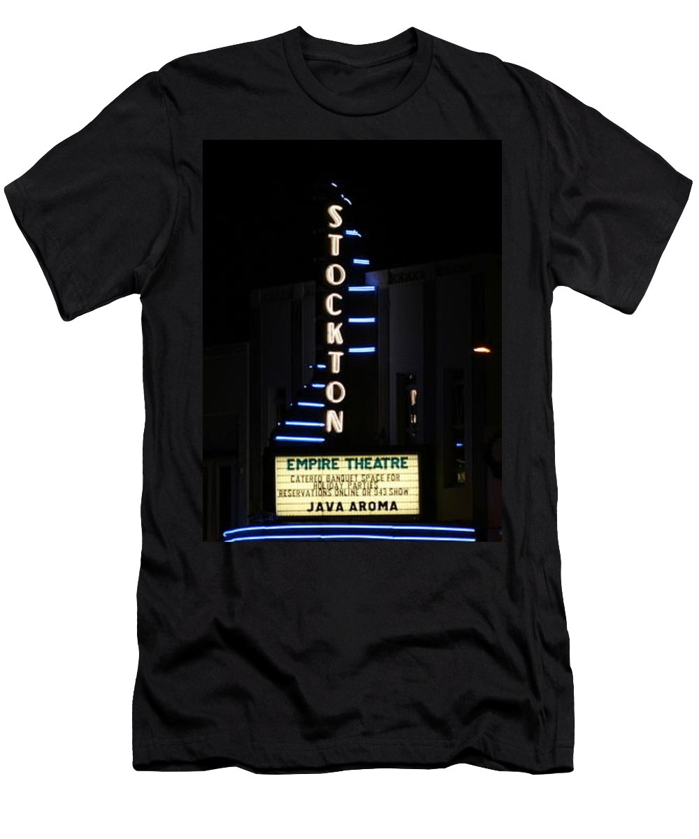 Stockton Men's T-Shirt (Athletic Fit) featuring the photograph Stockton Theatre by Suzanne Lorenz