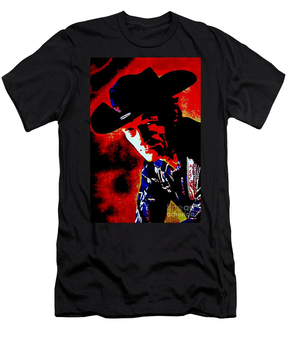 Musician Men's T-Shirt (Athletic Fit) featuring the painting Stompin' Tom by Holger Majorahn