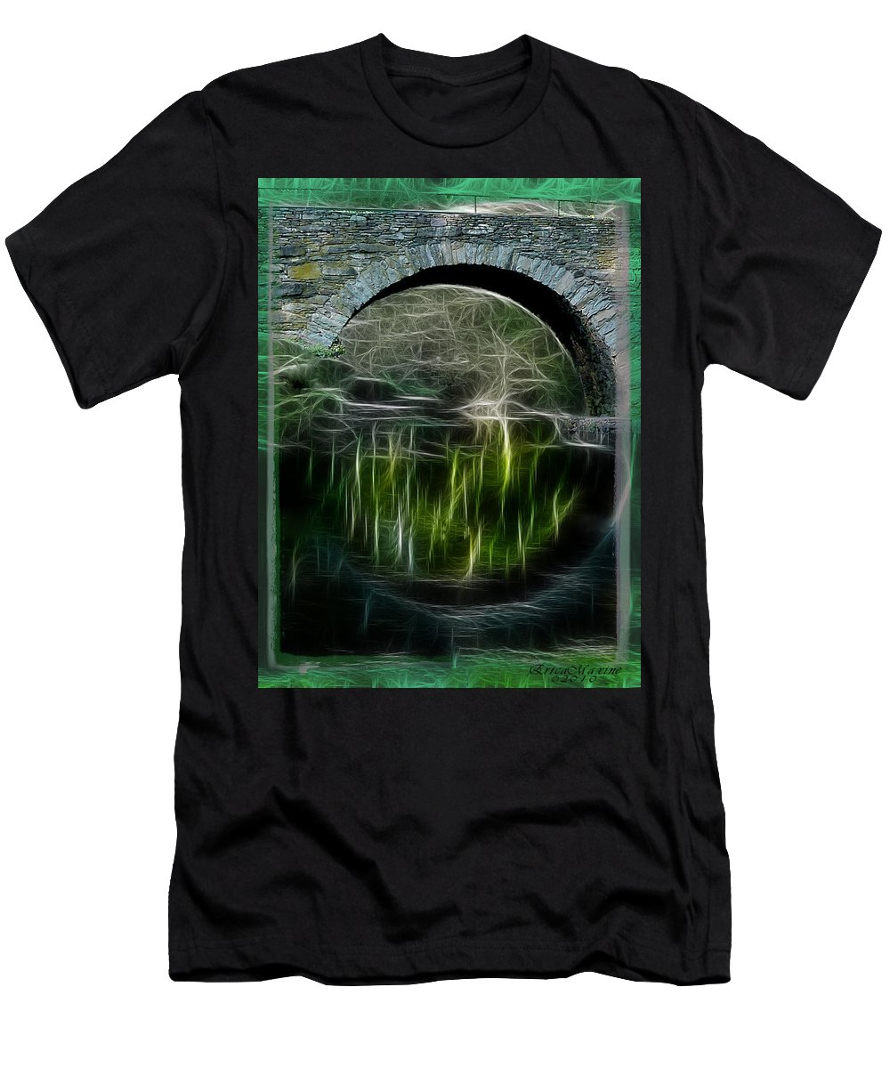 Bridge Men's T-Shirt (Athletic Fit) featuring the photograph Stone Arch Bridge - Ny by Ericamaxine Price