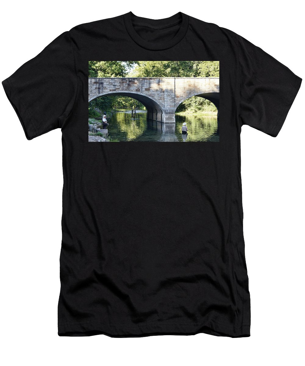 bennett Springs Men's T-Shirt (Athletic Fit) featuring the photograph Stone Bridge At Bennett Springs by Cricket Hackmann