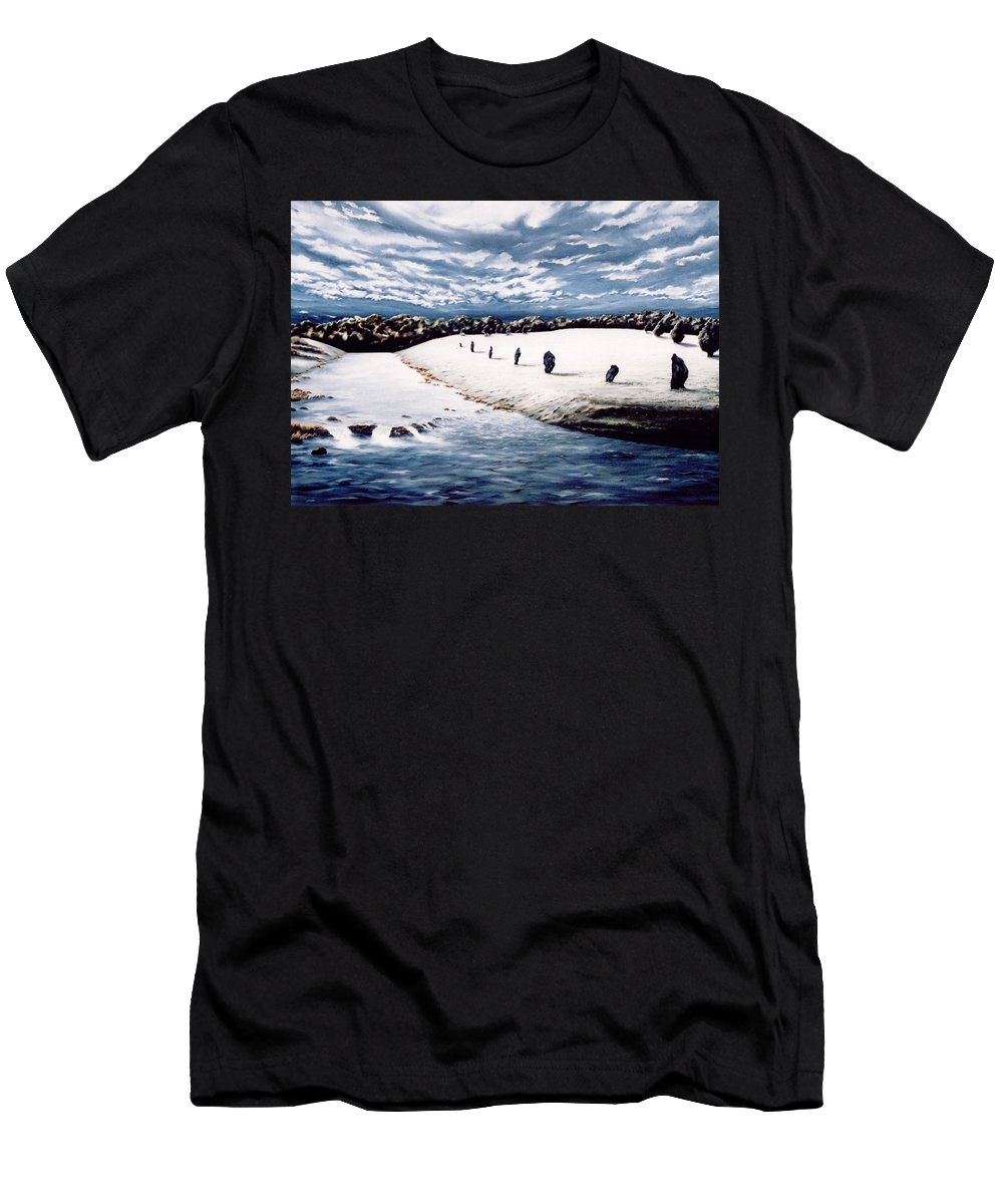 Stoneage Men's T-Shirt (Athletic Fit) featuring the painting Stone Delusion by Mark Cawood