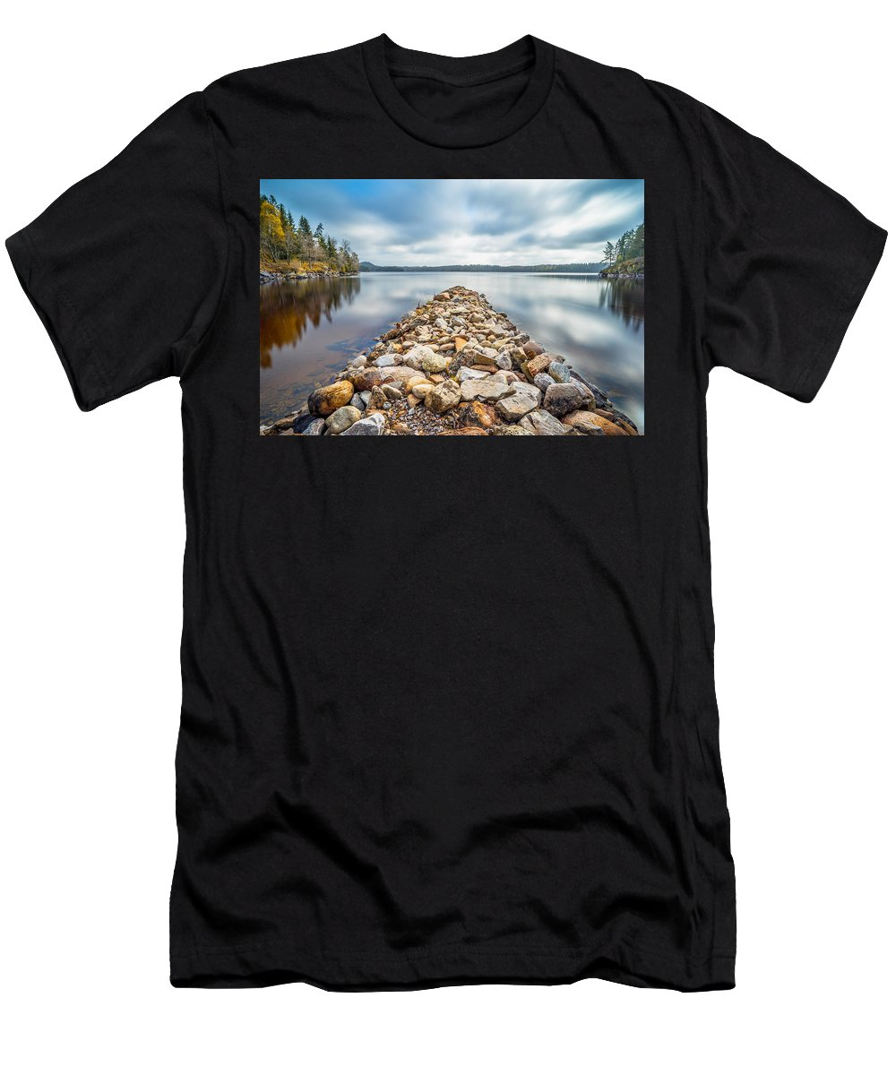 Lake Men's T-Shirt (Athletic Fit) featuring the photograph Stone Jetty by James Billings