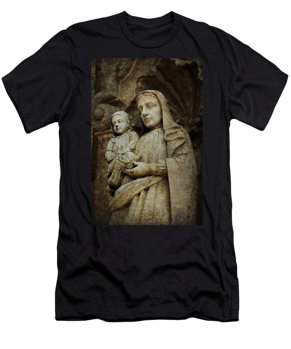 Mission Men's T-Shirt (Athletic Fit) featuring the photograph Stone Madonna And Child by Renee Hong