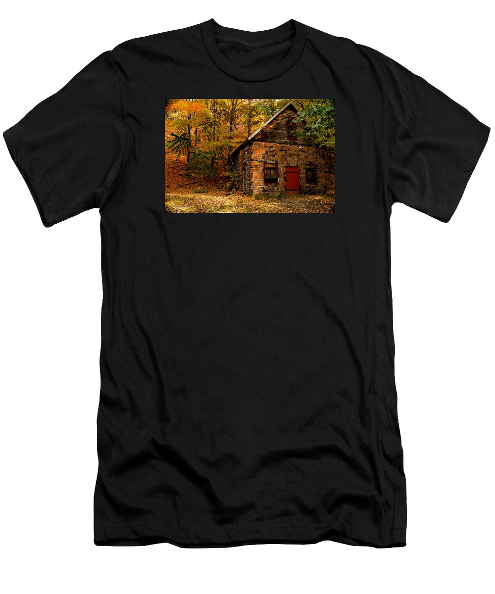 Stone Shed Men's T-Shirt (Athletic Fit) featuring the photograph Stone Shed by James Holt